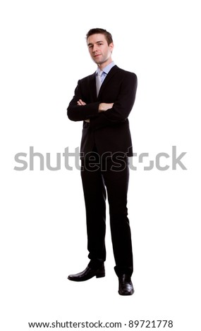 Portrait of young business man against white background