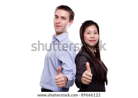 Portrait of young business man and business woman against white background