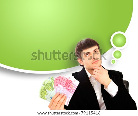 Portrait of young business man isolated on white background. Holding money in his arms