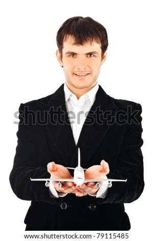 Portrait of young business man isolated on white background. Thinking about vacation