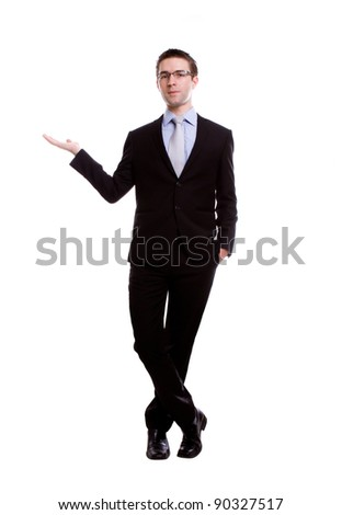 Portrait of young business man presenting and showing with copy space for your text