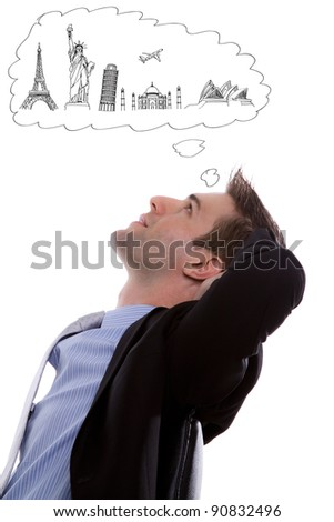 Portrait of young business man think to travel against white background