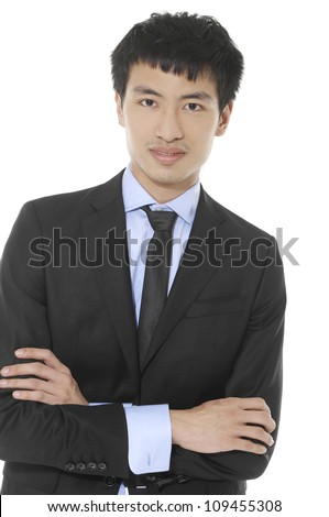 portrait of young business man with suit and sunglasses against a white background