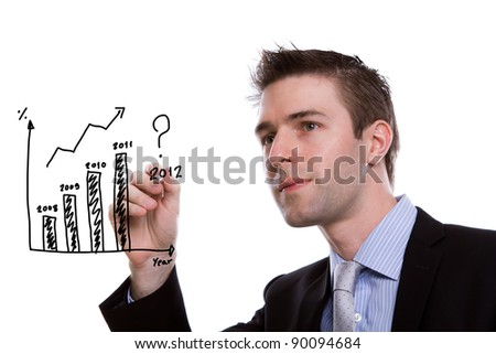 Portrait of young business man writing financial graph against white background