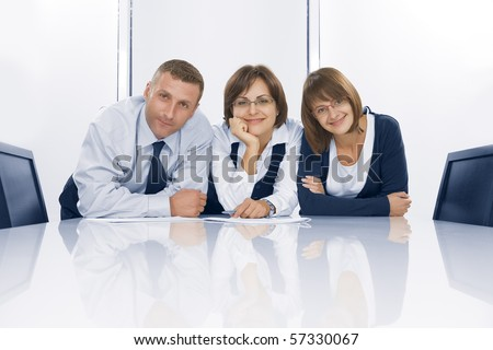 Portrait of young business people  in office environment
