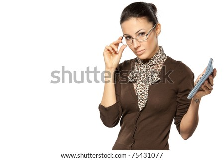 Portrait of young business woman holding calculator isolated on white, with copy-space