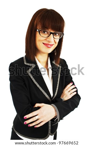 Portrait of young business woman or teacher wearing eye-glasses, isolated on white background