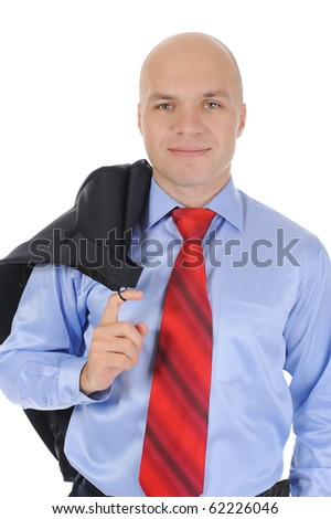 Portrait of young businessman holding a jacket in his hand over his shoulder. Isolated on white background