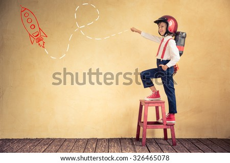 Portrait of young businessman with jetpack in office. Success, creative and innovation technology concept. Copy space for your text