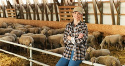 Portrait of young Caucasian beautiful woman shepherd sitting in stable, resting and smiling to camera. Pretty joyful farmer having rest in barn with cattle. Sheep flock on background.