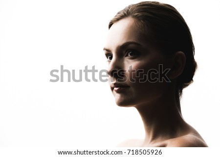 Stock Photo Portrait of young caucasian woman.