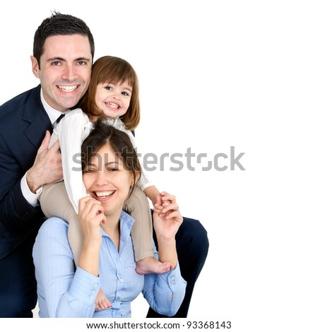 Portrait of young couple having fun with their daughter. Isolated on white background.