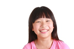 Portrait of young cute girl on white background.