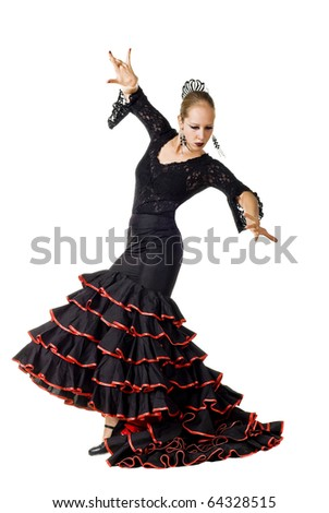 Portrait of young elegance Flamenco dancer in action. Isolated over white background