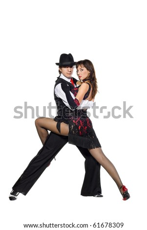 Portrait of young elegance tango dancers. Isolated over white background