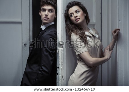 Portrait of young elegant couple