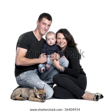 Baby Picture Studio on Stock Photo   Portrait Of Young Family With Baby Boy And 2 Months Old