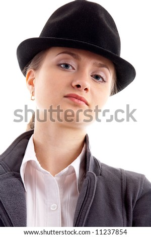 a5e14491e9e Portrait of young female model in black hat