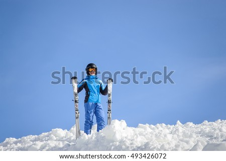 058d4d62754 Free photos Young woman ski goggles and a helmet holding ski in the ...
