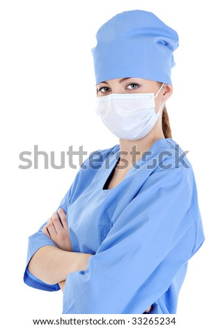 portrait of young female surgeon in blue uniform - white background