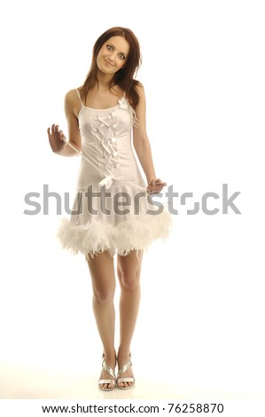 Portrait of young girl in a sexy white outfit