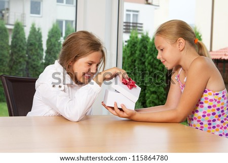 Portrait of young girls at birthsday party