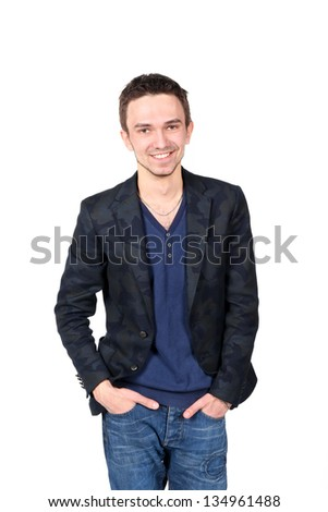 Portrait of young handsome man smiling on white background
