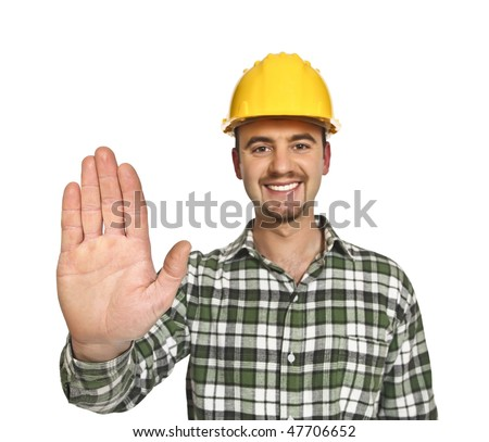 portrait of young handyman showing his hand isolated on white