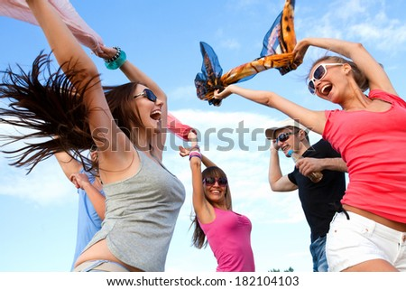 Portrait of young happiness woman in summer time stock photo