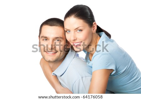 Portrait of young happy smiling attractive couple, isolated on white background