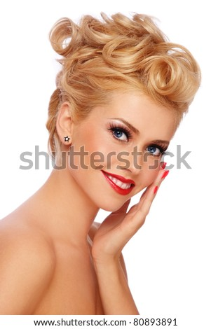 Portrait of young happy smiling blond girl with stylish make-up and hairdo, on white background
