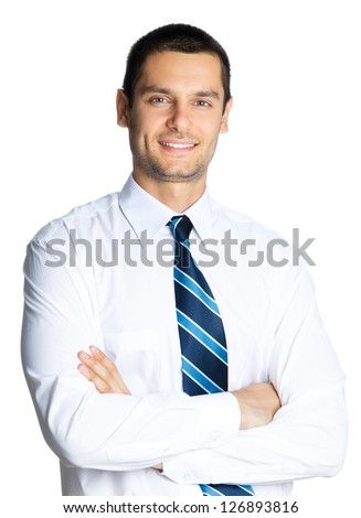 Portrait of young happy smiling business man, isolated over white background