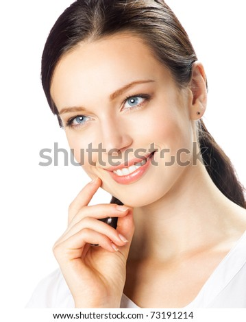 Portrait of young happy smiling businesswoman, isolated on white background