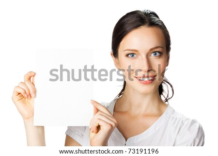 Portrait of young happy smiling businesswoman showing blank signboard, isolated on white background