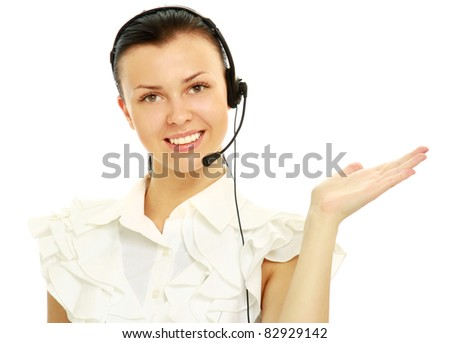 Portrait of young happy smiling customer service operator, gesturing, isolated on white background
