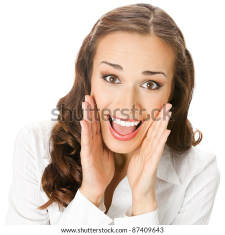 Portrait of young happy smiling surprised business woman, isolated over white background