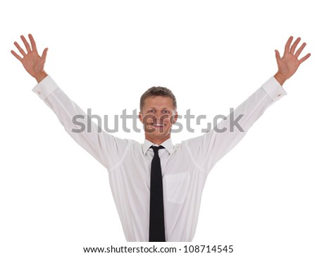portrait of young, happy winner businessman isolated on white