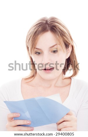 Portrait of young happy woman reading valentine card