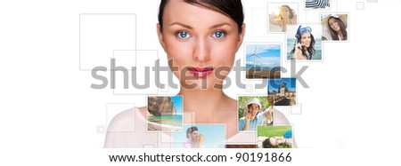 Portrait of young happy woman sharing his photo and video files in social media resources. Studio shot isolated against white background