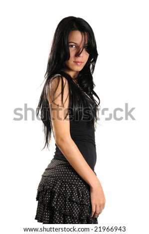 Portrait of young hispanic beauty with long dark hair - stock photo