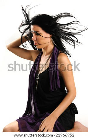 Portrait of young hispanic beauty with long dark hair isolated - stock photo