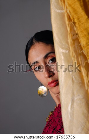 Portrait of young indian beauty in traditional clothes