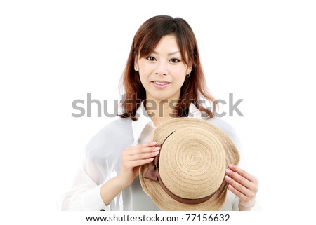 Portrait of young japanese woman with a hat