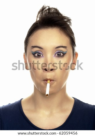 Portrait of young lady with cigarette. isolated on white.