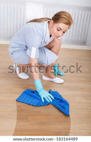 Portrait Of Young Maid Cleaning Hardwood Floor With Cloth