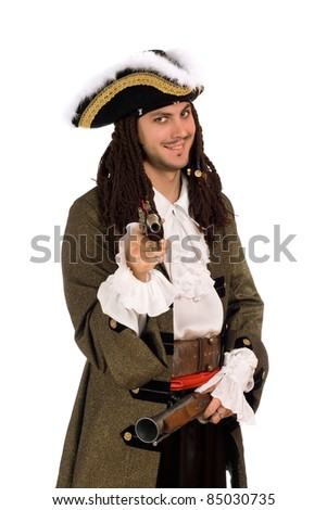 Portrait of young man in a pirate costume with pistols