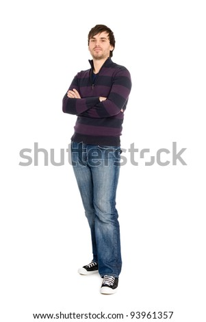 Portrait of young man in full length isolated on white background.