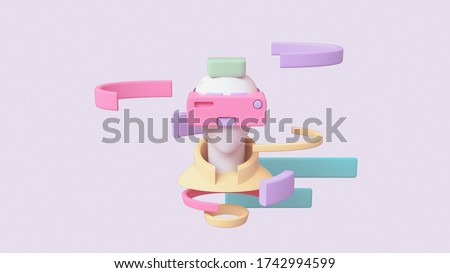 Portrait of young man in yellow jacket with green hair using pink purple virtual reality VR headset. Abstract man wears VR floating in the air sees infographic. Front view. 3d render in pastel colors