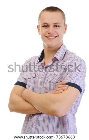 Portrait of young man. Isolated on white background