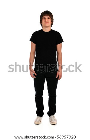 Portrait of young man standing isolated over white background - stock photo